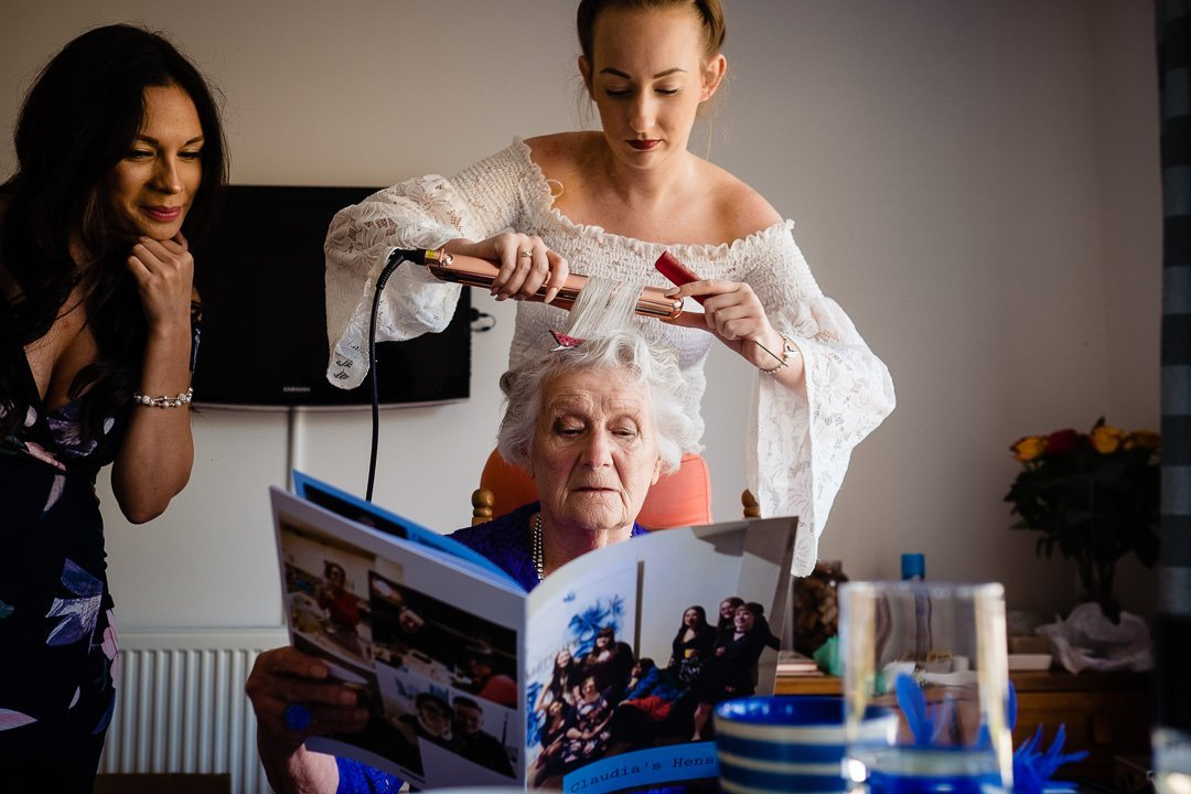 Nan getting hair done on wedding morning