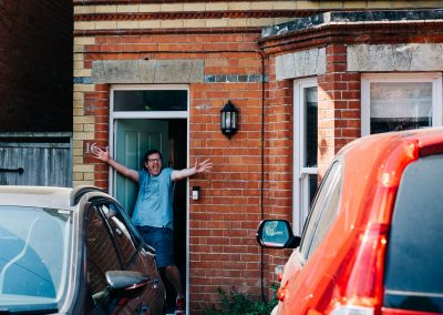 Robin Harper on his doorstep in Blandford