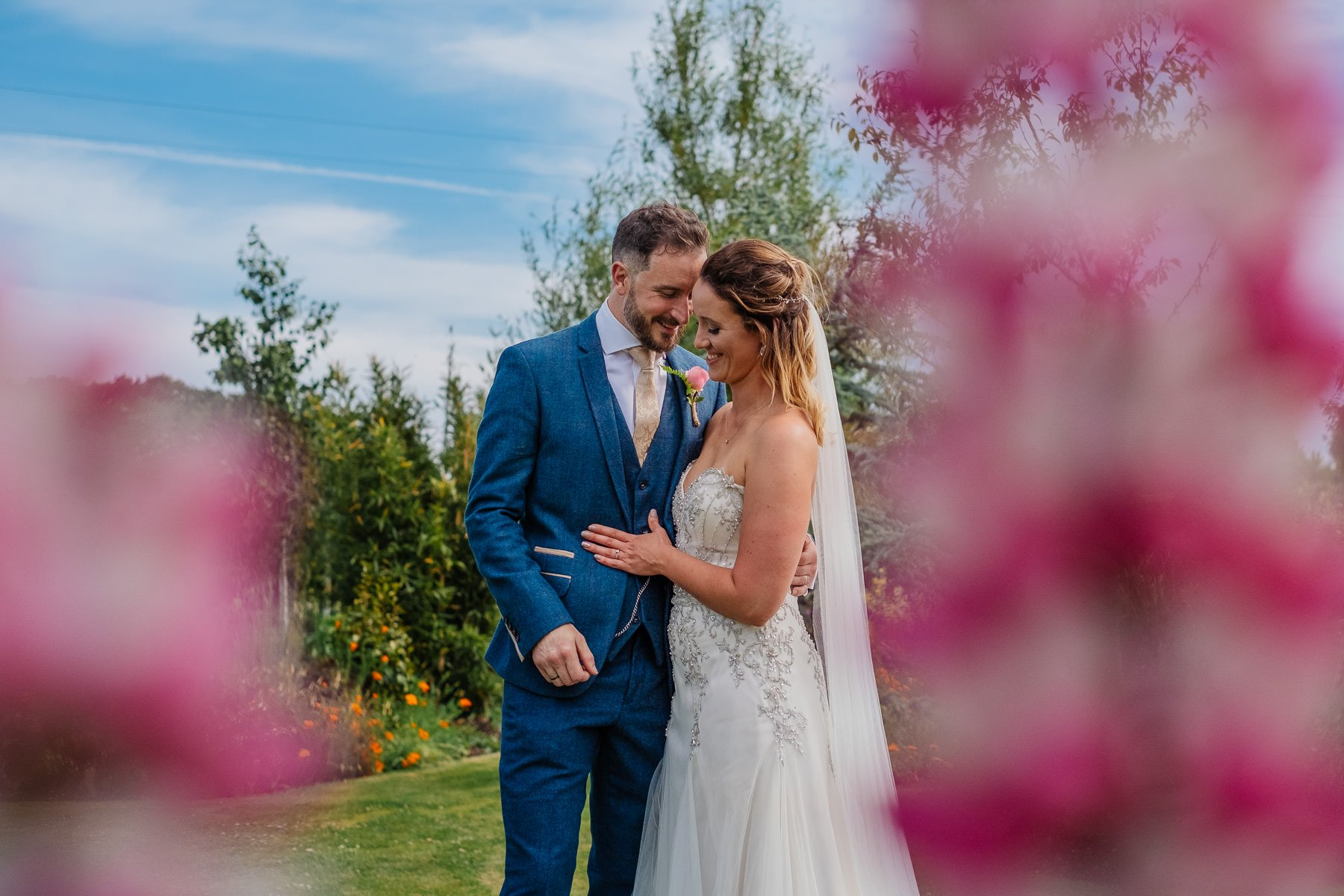 Colourful bride and groom photo